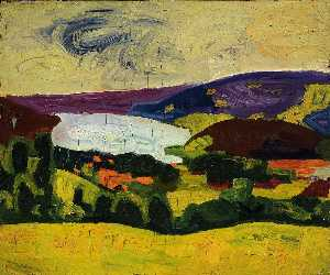 William Henry Johnson - Yellow Field and Lake