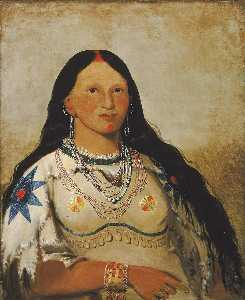 George Catlin - Mi néek ee súnk te ka, Mink, a Beautiful Girl