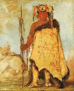 George Catlin - La wée re coo re shaw wee, War Chief, a Republican Pawnee