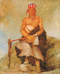 George Catlin - A'h sha la cóots ah, Mole in the Forehead, Chief of the Republican Pawnee