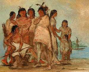 George Catlin - Du cór re a, Chief of the Tribe, and His Family