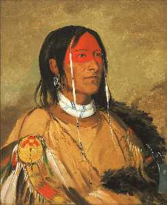 George Catlin - Eeh tow wées ka zeet, He Who Has Eyes Behind Him (also known as Broken Arm), a Foremost Brave