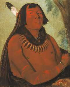 George Catlin - Mah táhp ta a, Rushes through the Middle, a Brave