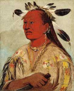 George Catlin - Stán au pat, Bloody Hand, Chief of the Tribe