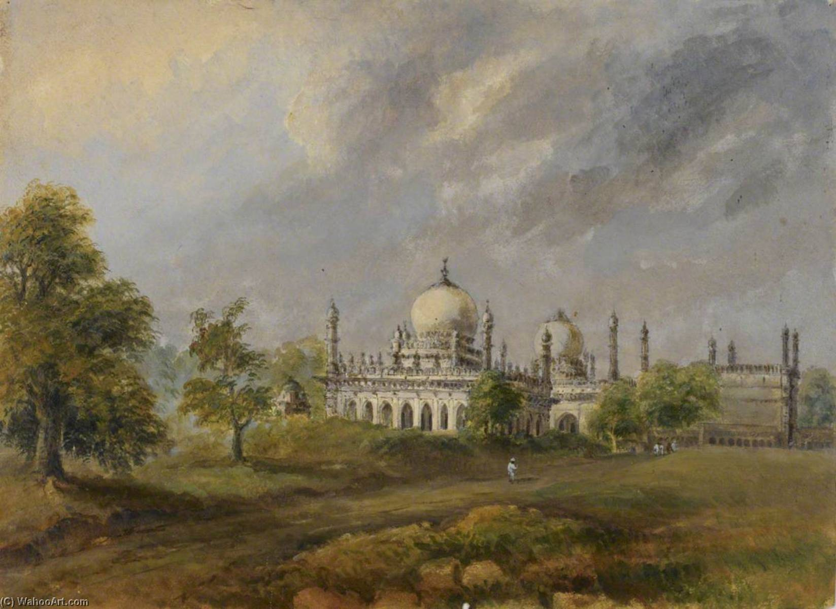 Ibrahim Rauza, Tomb and Mosque Complex of Ibrahim Adil Shah (ruled 1580–1627), at Bijapur, 1875 by William Robert Houghton | WahooArt.com