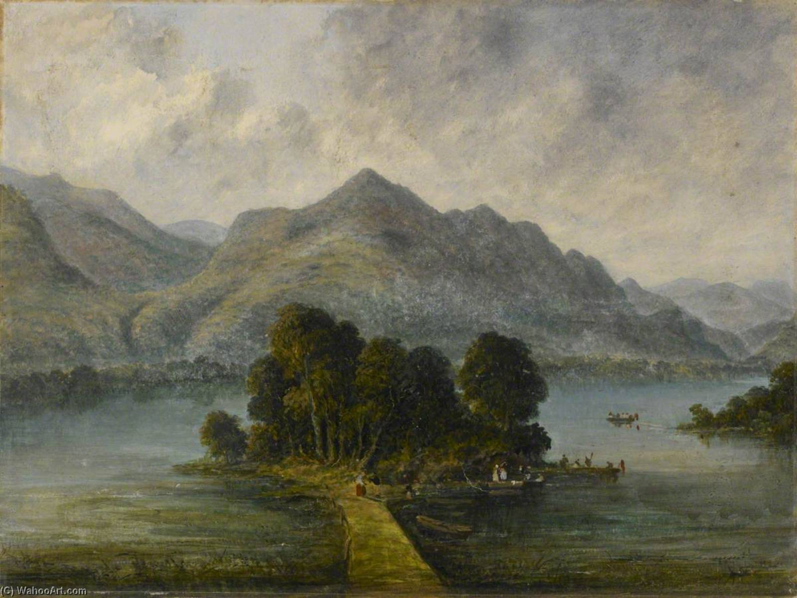Landing Stage on a River, Western Ghats, Oil by William Robert Houghton