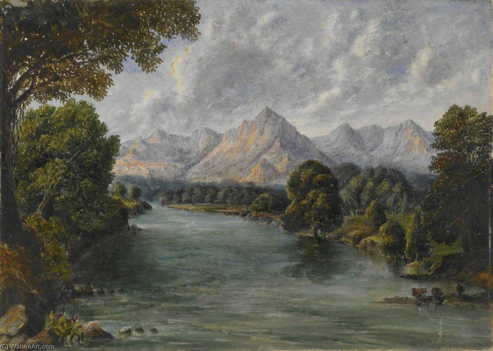 River with Mountains in the Distance, Western Ghats, Oil by William Robert Houghton