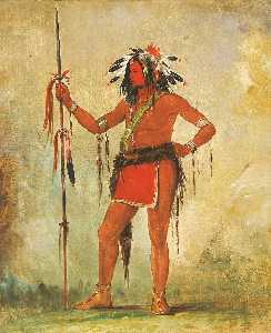 George Catlin - Cáh be múb bee, He Who Sits Everywhere, a Brave
