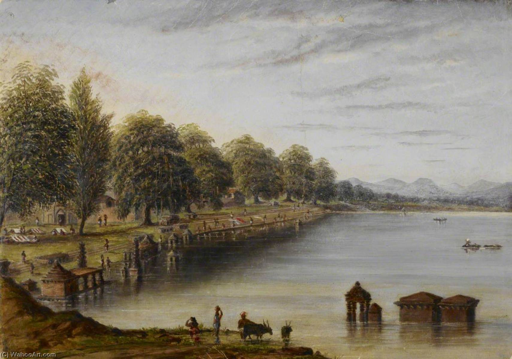 River and Ghats at Kolhapur, Oil by William Robert Houghton