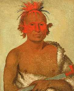 George Catlin - Pash ee pa hó, Little Stabbing Chief, the Younger, One of Black Hawk's Braves