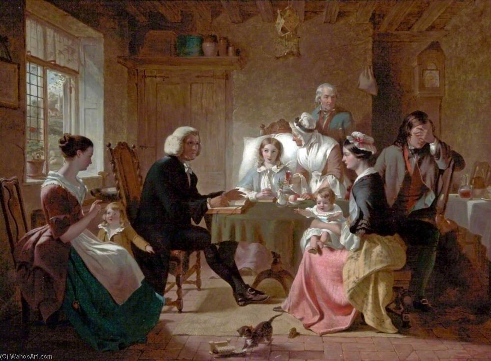 The Pastor`s Visit, 1850 by Thomas Brooks | Oil Painting | WahooArt.com