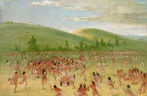 George Catlin - Ball play of the Choctaw Ball Up