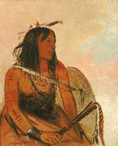 George Catlin - Ish a ró yeh, He Who Carries a Wolf, a Distinguished Brave