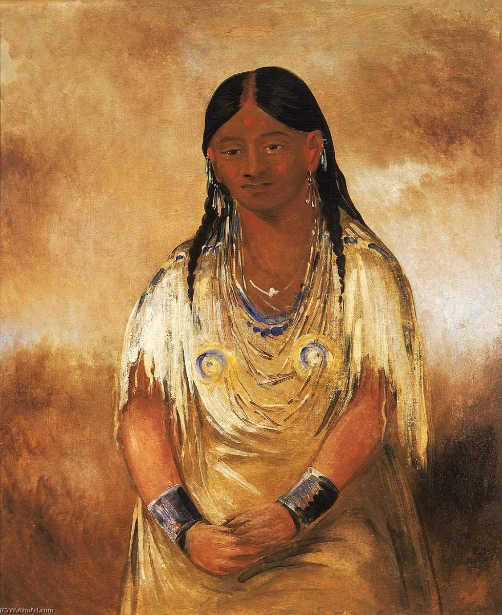 Mún ne o ye, a Woman, 1832 by George Catlin (1796-1872, United States) | Art Reproductions George Catlin | WahooArt.com