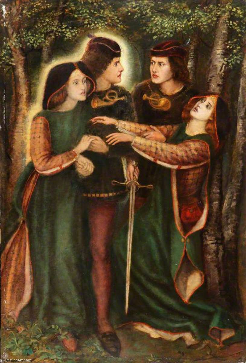The Theodore Watts Dunton Cabinet How They Met Themselves (after Dante Gabriel Rossetti), 1898 by Henry Treffry Dunn | Famous Paintings Reproductions | WahooArt.com
