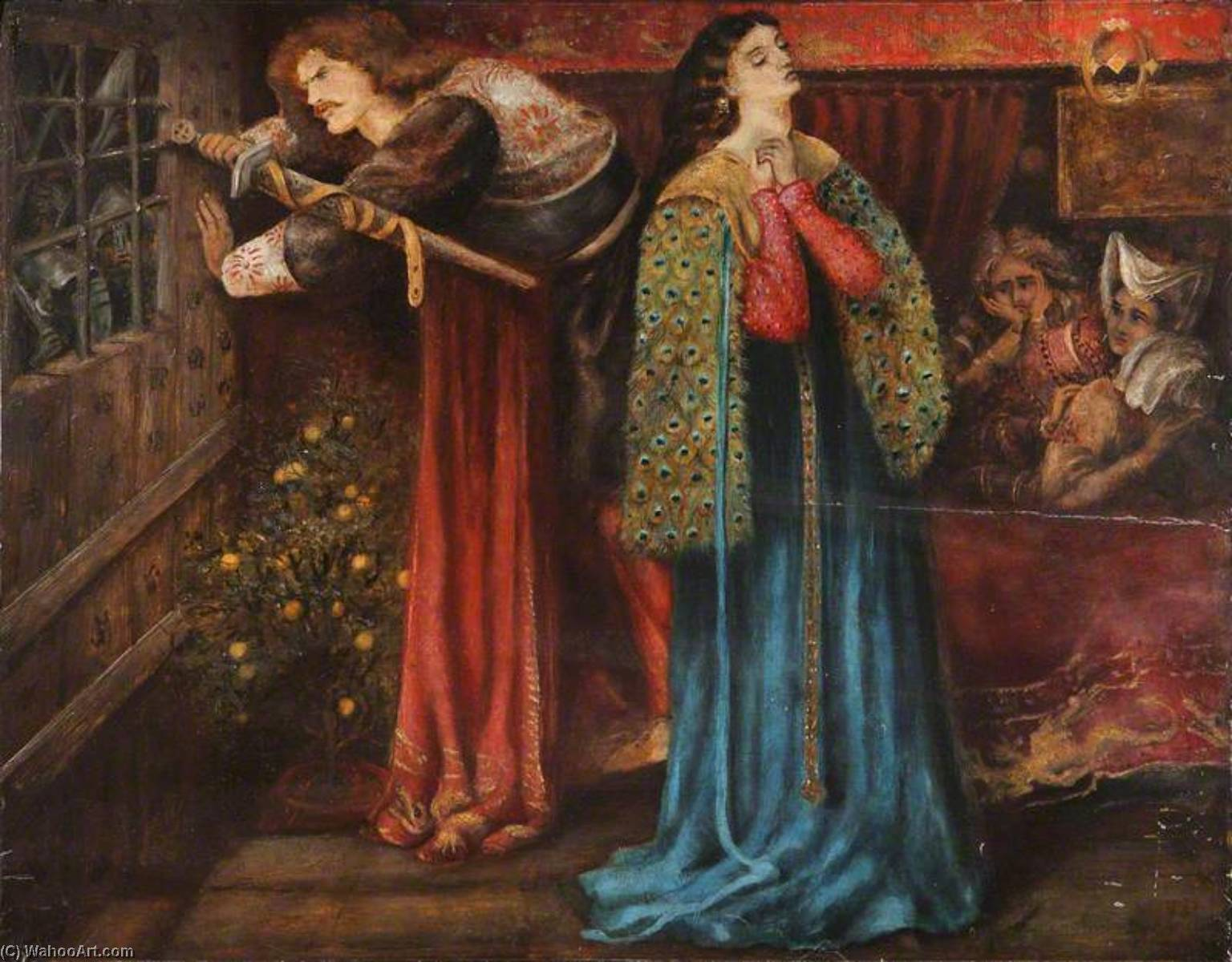 Sir Launcelot in the Queen's Chamber (after Dante Gabriel Rossetti), Oil by Henry Treffry Dunn