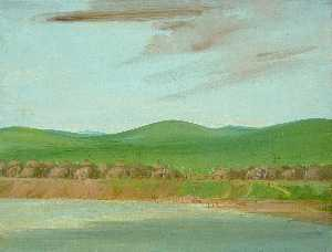 George Catlin - Arikara Village of Earth Covered lodges, 1600 Miles above St. Louis