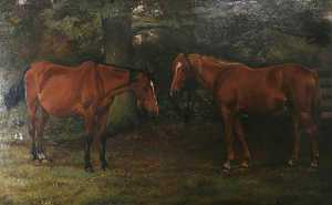 William Edward Millner - Two Horses by a Wood