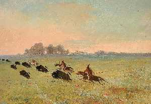 George Catlin - Comanche Indians Chasing Buffalo