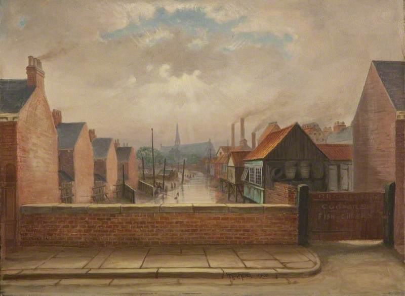 The Old Boundary Mark, Oxford Street and Albert Street, Grimsby, Lincolnshire, 1936 by William Richard Bunting | Museum Quality Reproductions | WahooArt.com