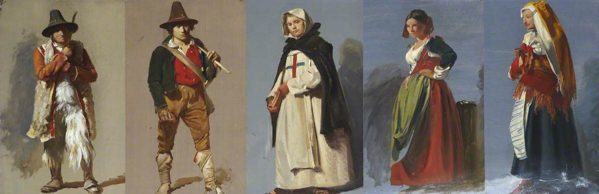 Five Studies of Italian Figures, 1850 by Thomas Stuart Smith | Famous Paintings Reproductions | WahooArt.com