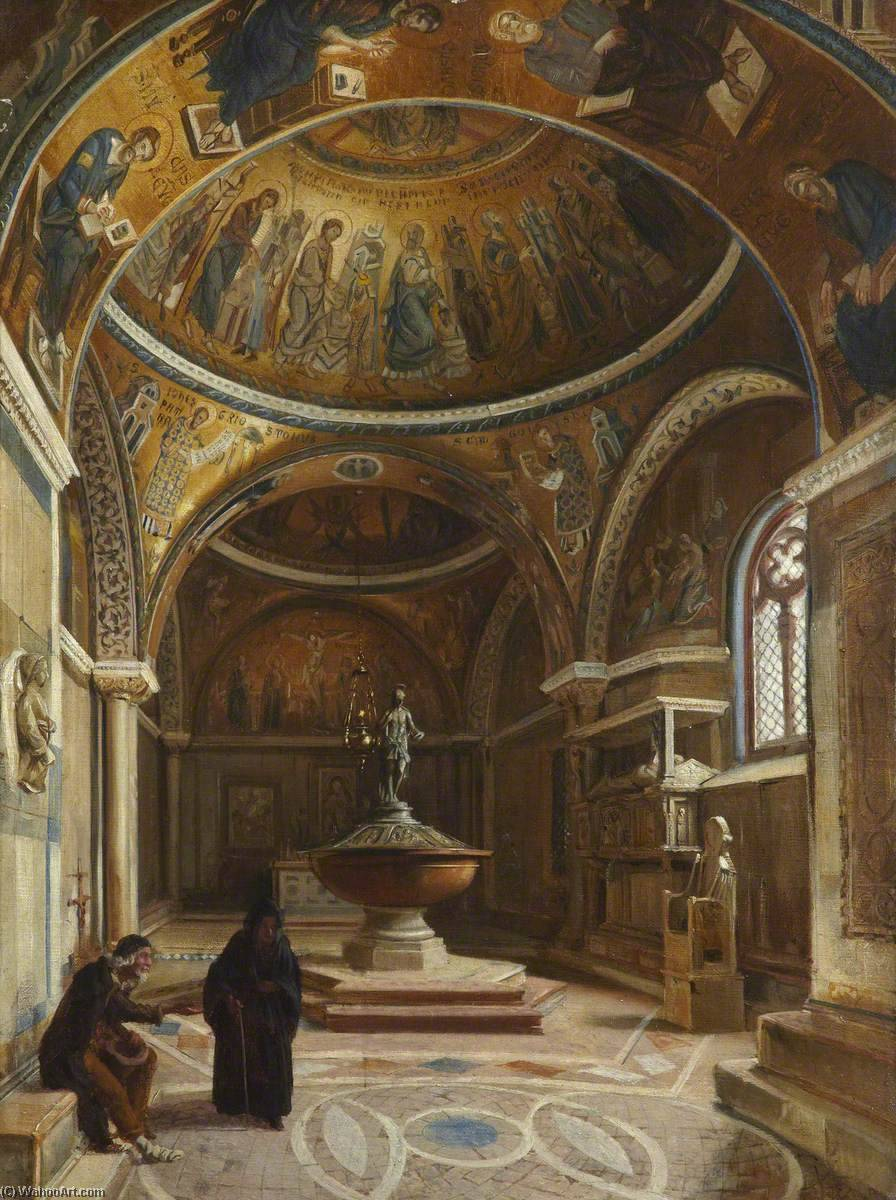 Interior of San Marco, Venice, Oil On Canvas by Thomas Stuart Smith