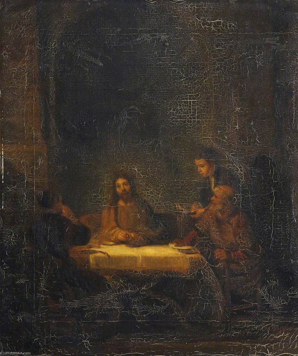 Supper at Emmaus (after Rembrandt van Rijn), 1850 by Thomas Stuart Smith | Oil Painting | WahooArt.com