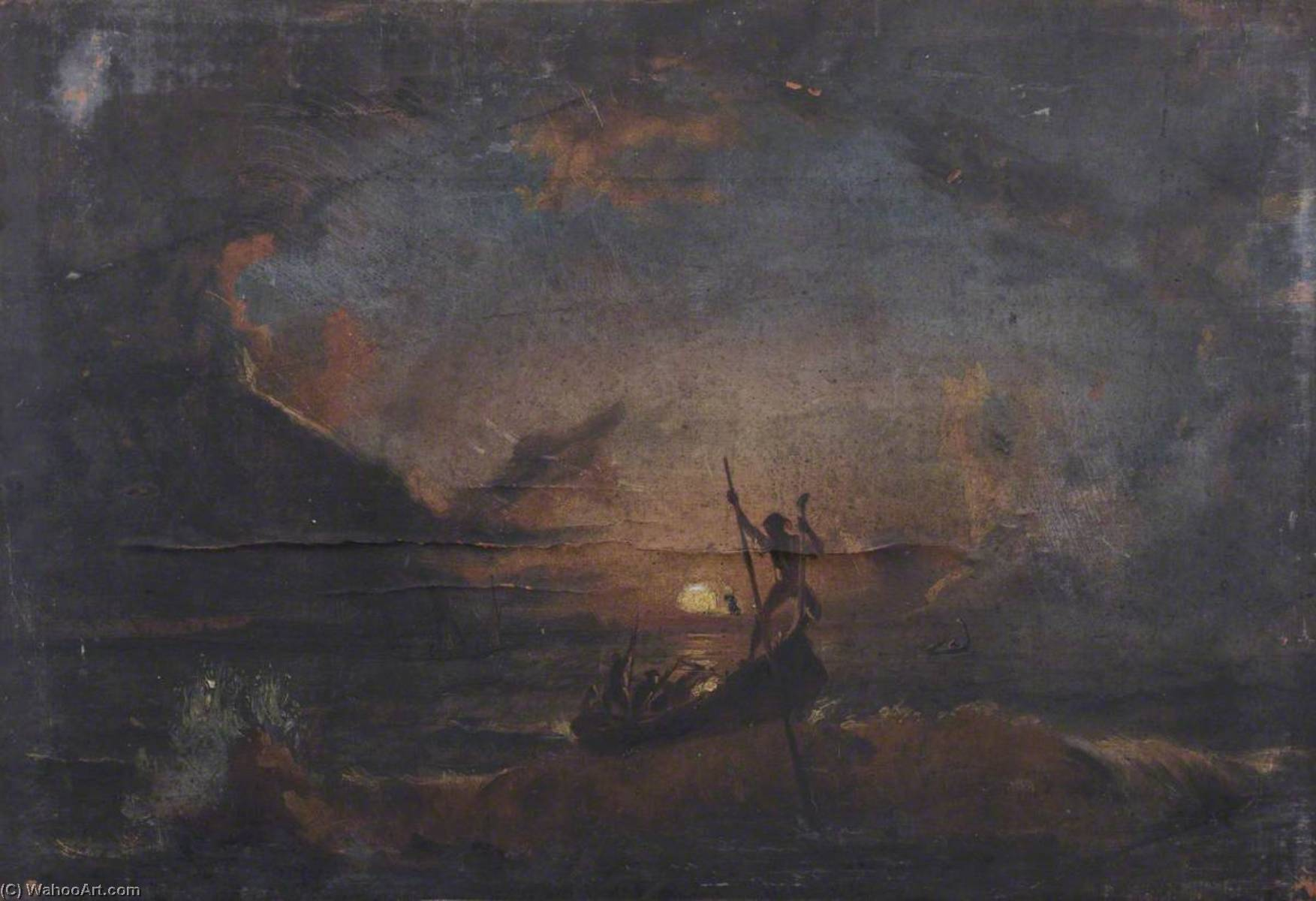 Men in a Boat at Sunset, Oil On Canvas by Thomas Stuart Smith