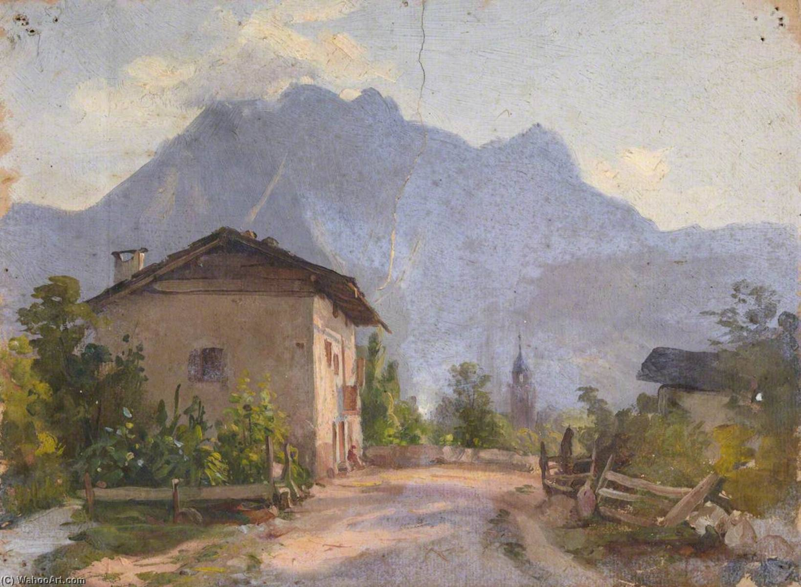 House with a View of Mountains, Oil by Thomas Stuart Smith