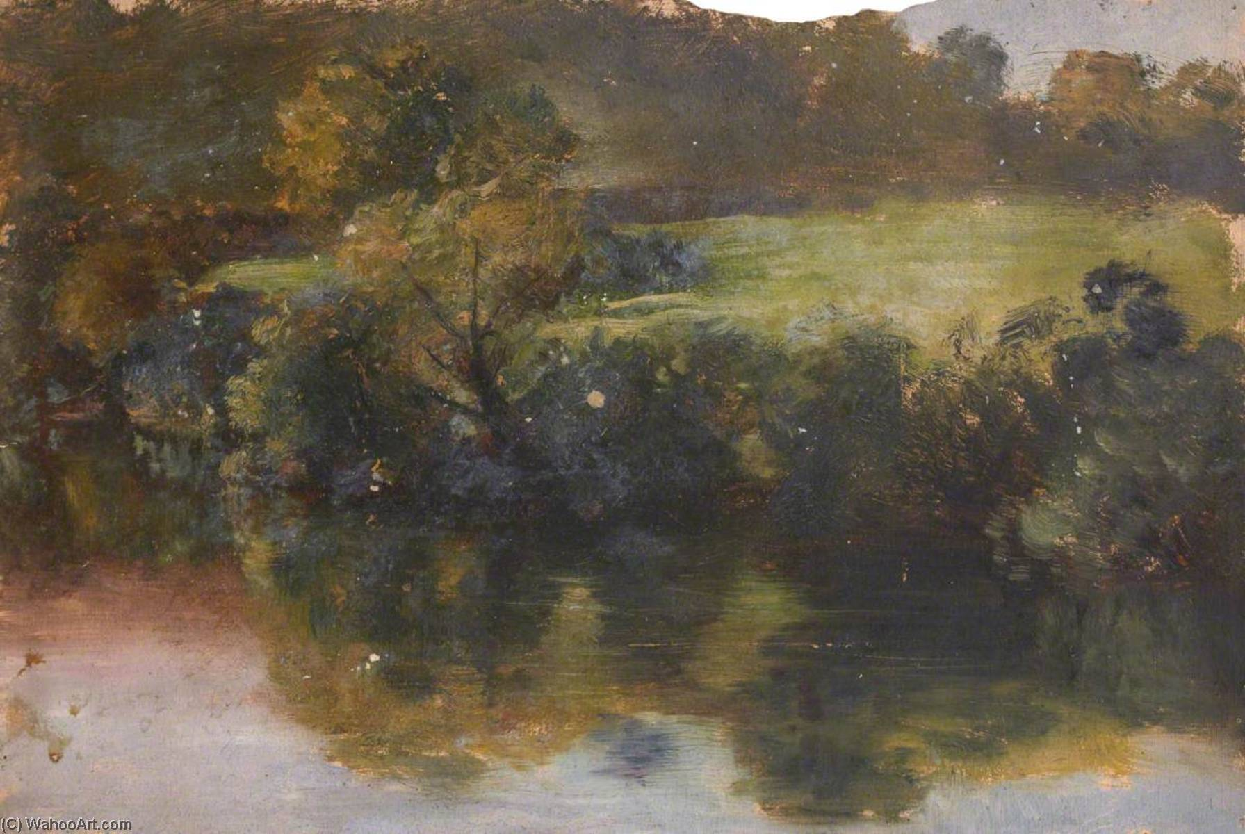 Trees Reflected in the Water, Oil by Thomas Stuart Smith