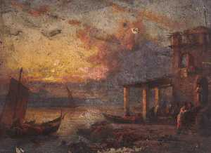 Thomas Stuart Smith - Coastal Town at Sunset
