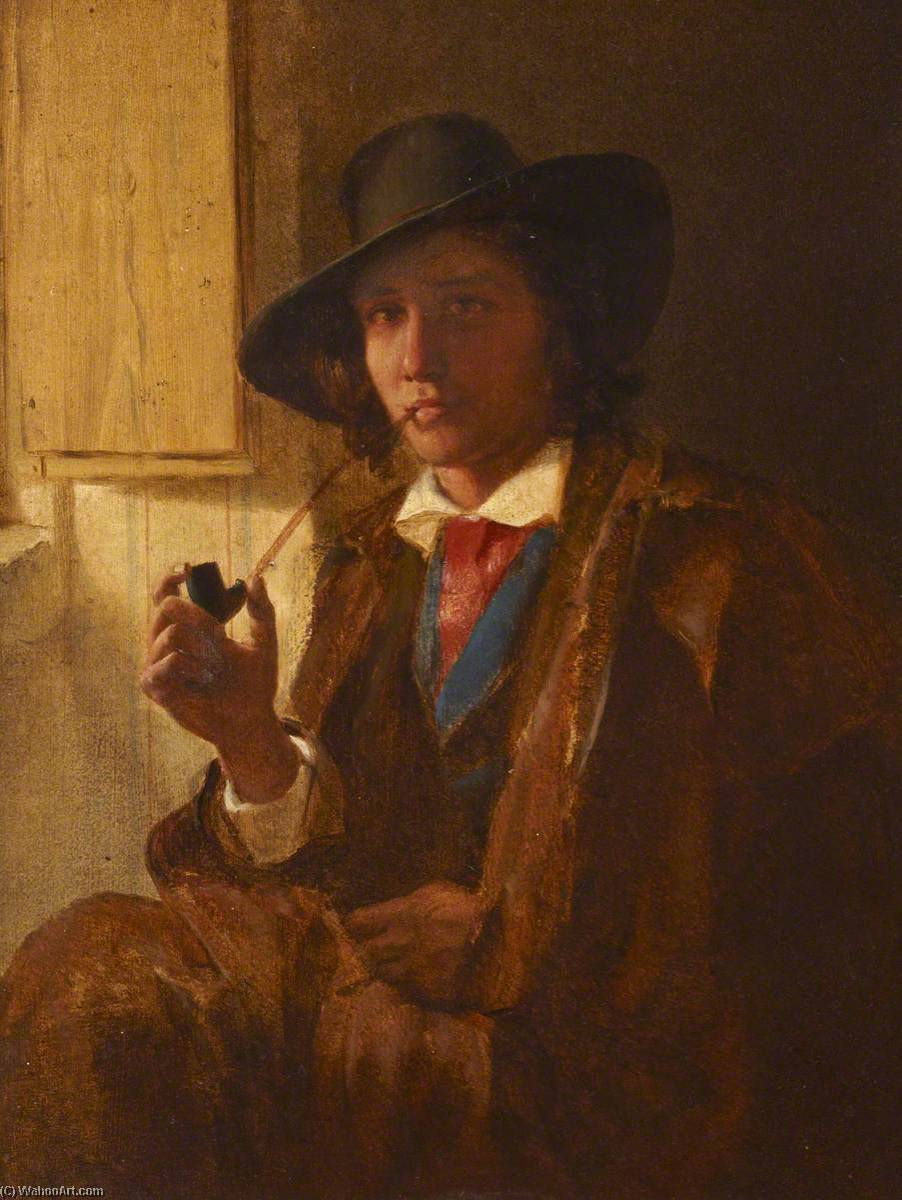A Quiet Pipe, Oil On Canvas by Thomas Stuart Smith