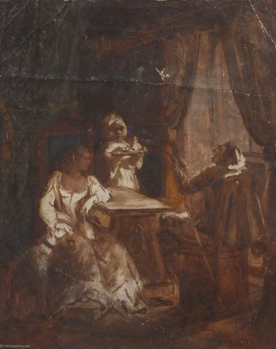 Study for Figures by a Window, Oil On Canvas by Thomas Stuart Smith