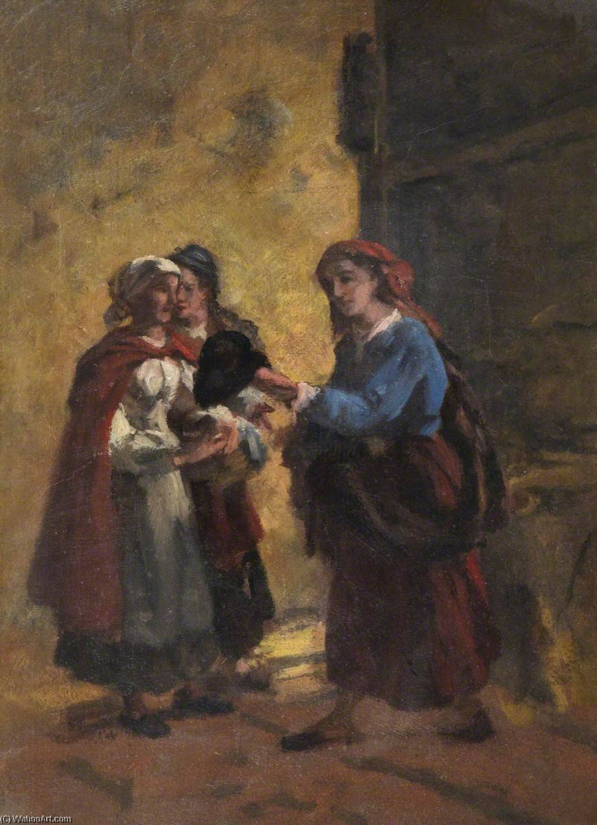 A Group of Three Women, Oil On Canvas by Thomas Stuart Smith