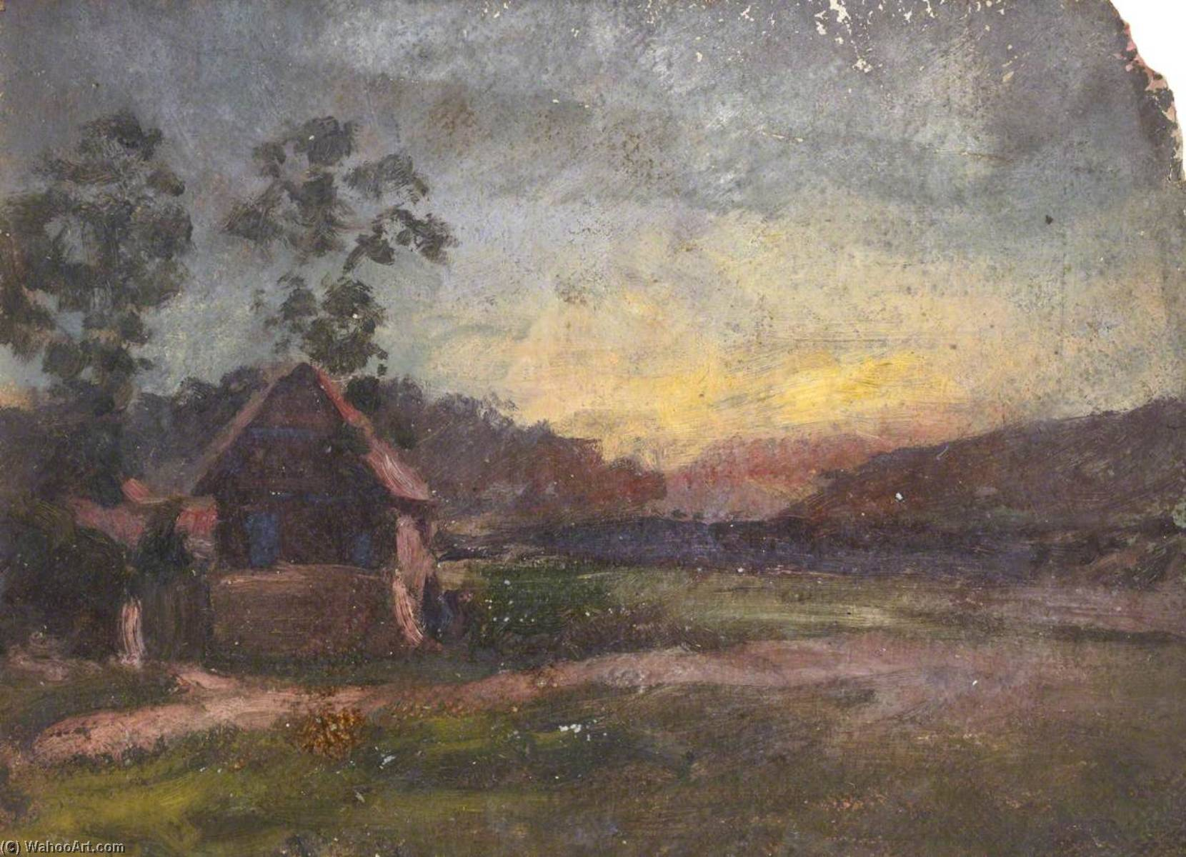 Cottage in a Landscape, Oil by Thomas Stuart Smith