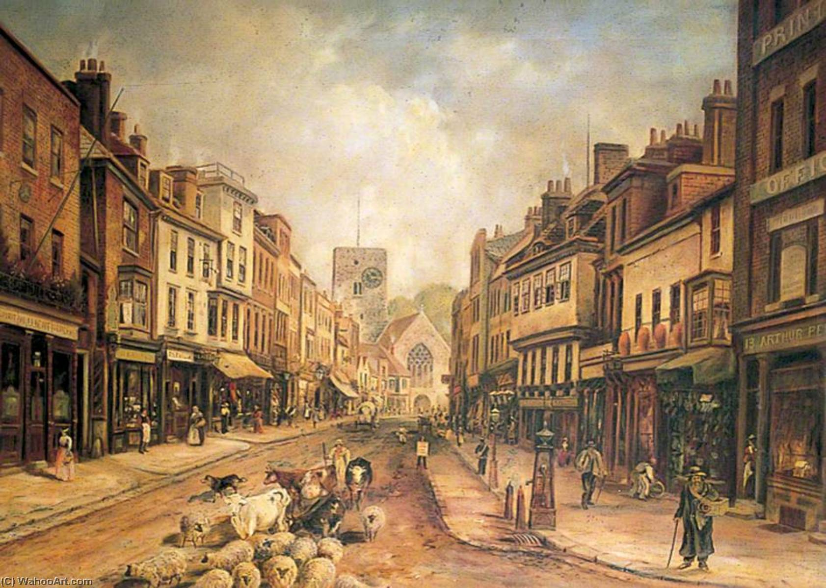 High Street, Dartford, Kent, Oil On Canvas by Clement T Youens