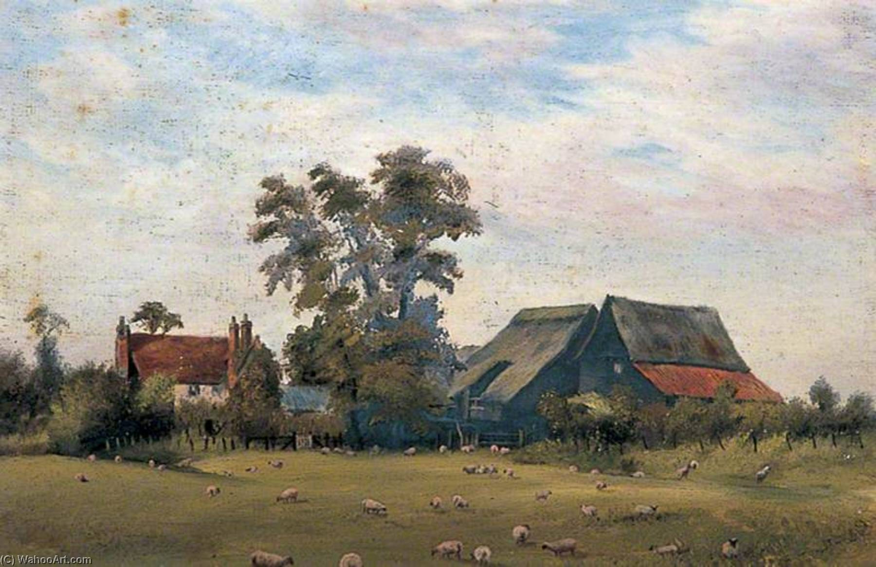 Stoneham Farm, Dartford, Kent, Oil by Clement T Youens