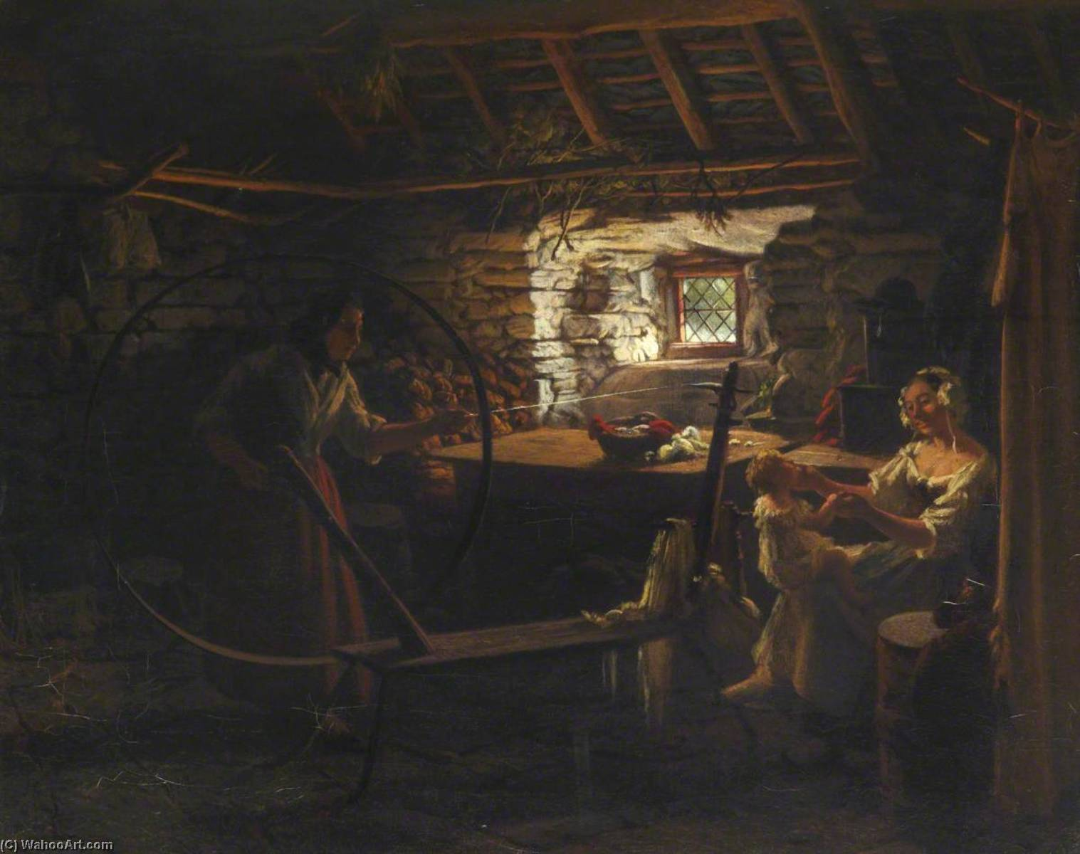 A Welsh Interior, Spinning, Oil On Canvas by Thomas Stuart Smith