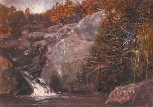 Thomas Stuart Smith - Rocks and a Small Waterfall