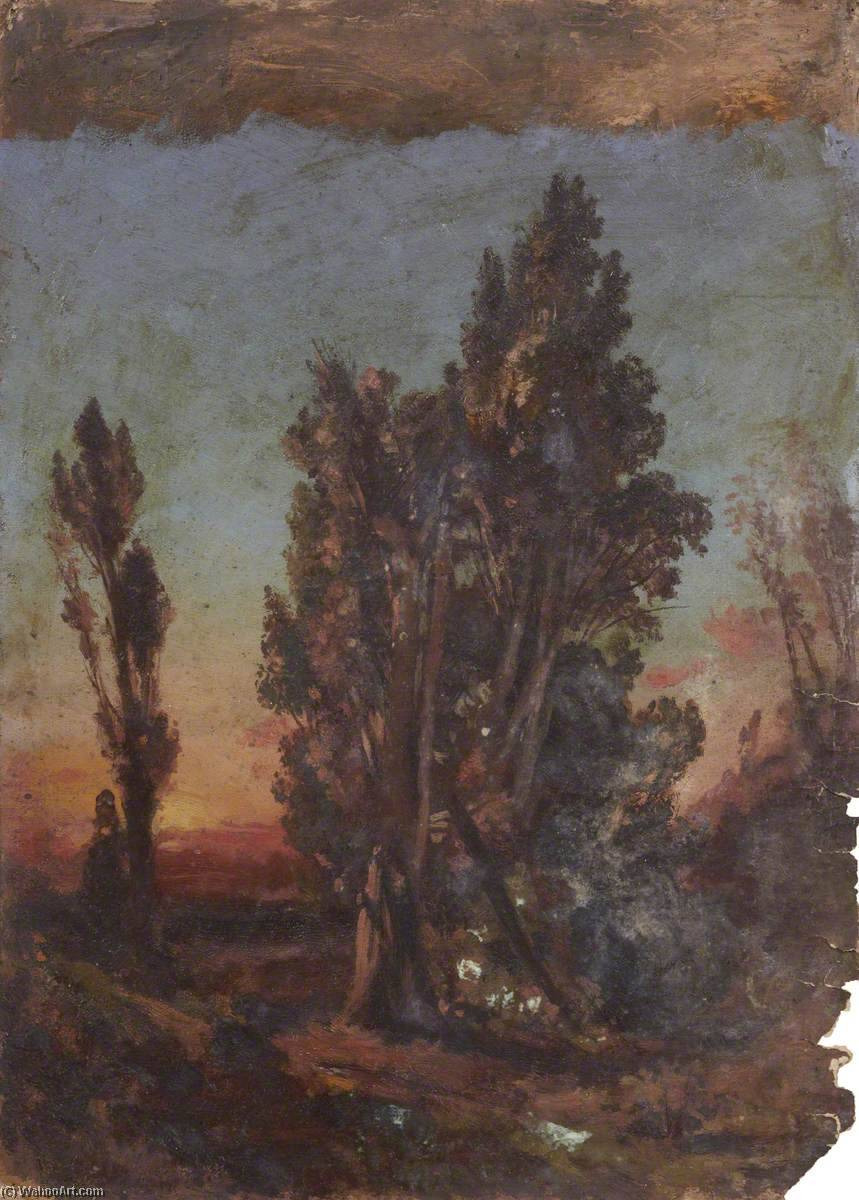 Sunset with Trees, Oil by Thomas Stuart Smith