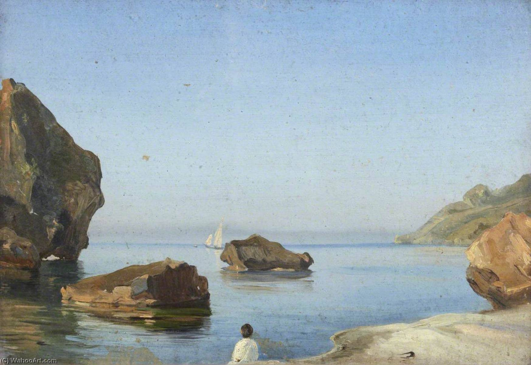 Study of a Rock at Capri, Oil On Canvas by Thomas Stuart Smith
