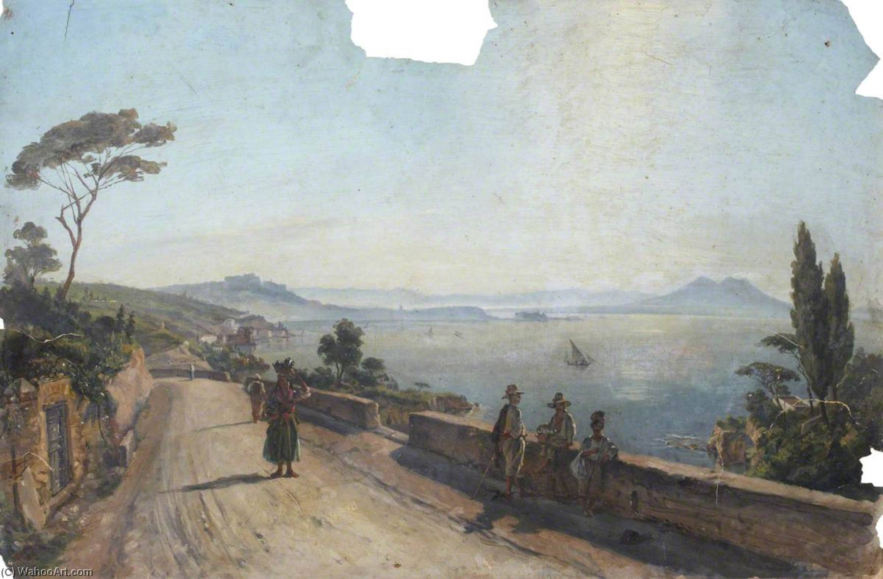 A Road on the Coast, West of Naples, Oil by Thomas Stuart Smith
