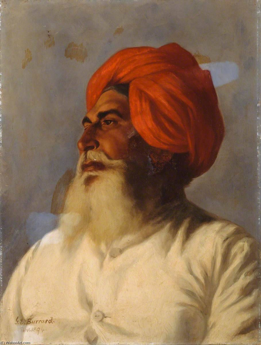 Ganda Singh, a Sikh Chaprasi (messenger) of Colonel Wilmer's Topographical No.14 Survey Party, Oil On Canvas by Gertrude Ellen Burrard