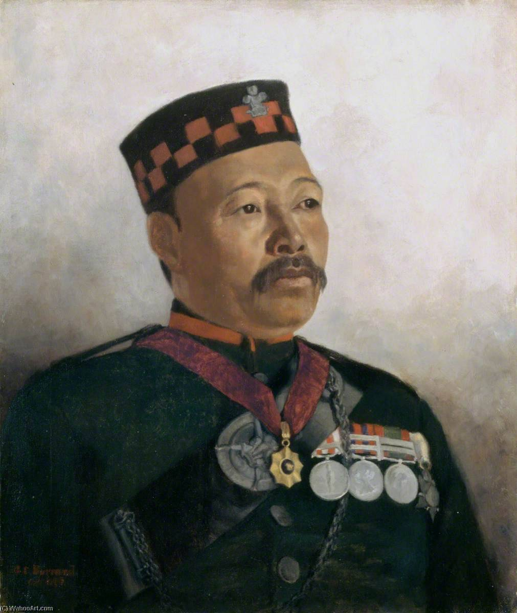 Subadar Major Judbhir Thapa, 2nd (Prince of Wales's Own) Gurkha (Rifle) Regiment (The Sirmoor Rifles), Oil On Canvas by Gertrude Ellen Burrard
