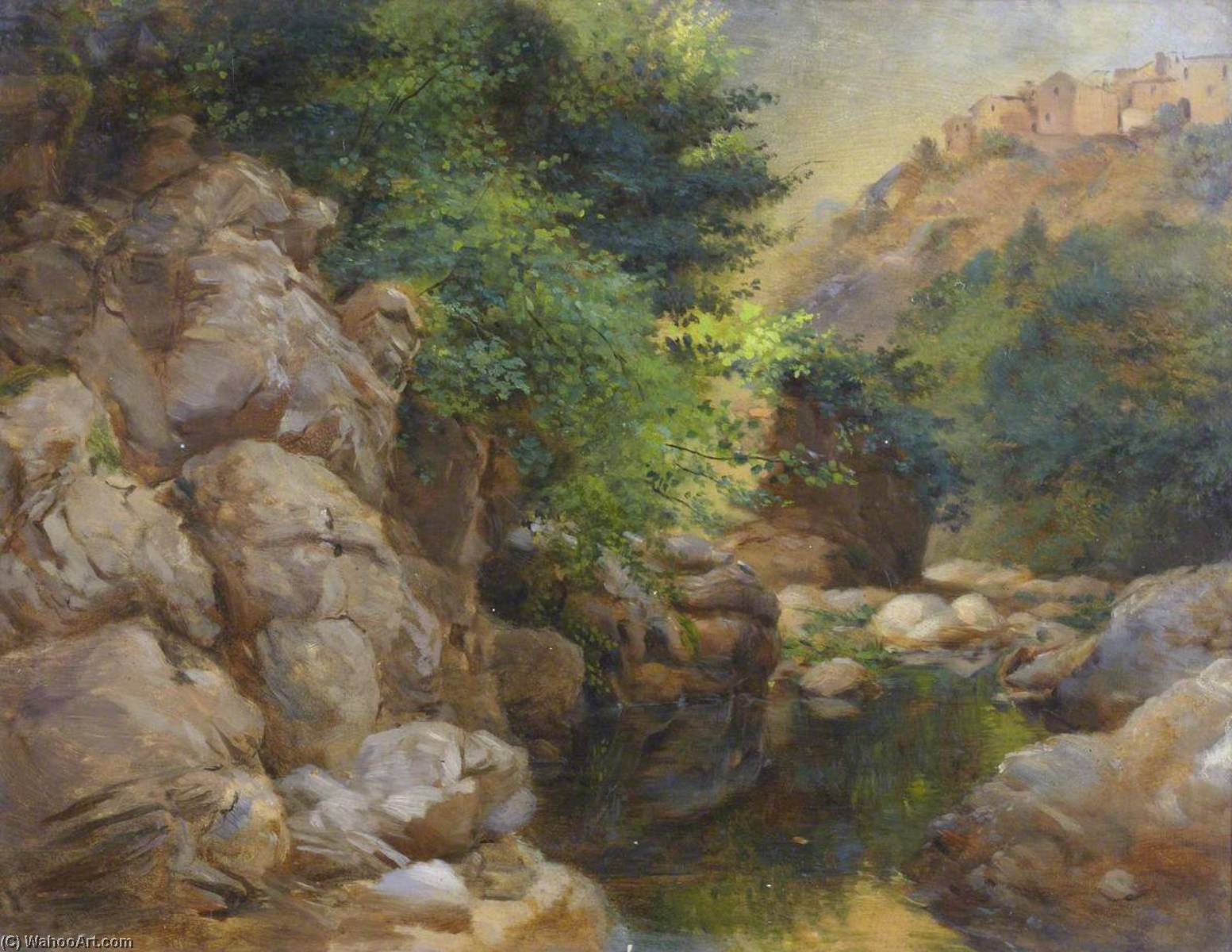 Rocky Landscape with Stream and Village, Oil On Canvas by Thomas Stuart Smith