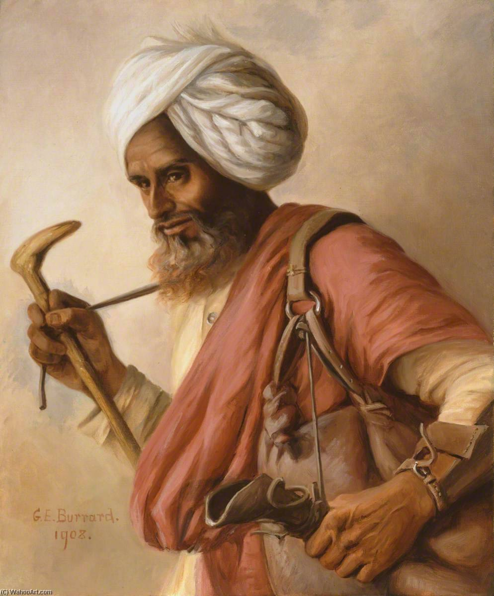 Hasan, Our Bheestie (bhisti, or water carrier) at Simla, Oil On Canvas by Gertrude Ellen Burrard