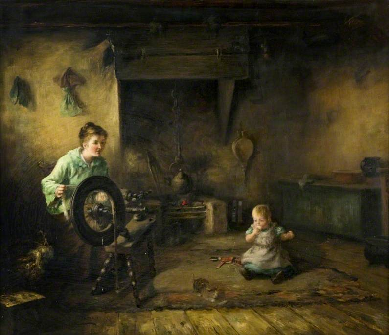 Interior The Spinning Wheel, Oil On Canvas by Thomas Mcewan