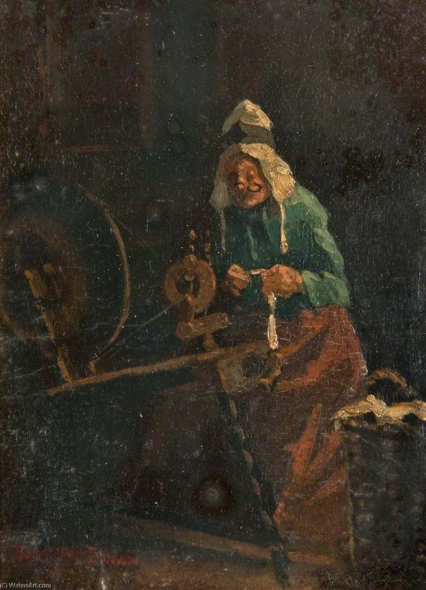 At the Spinning Wheel, Oil by Thomas Mcewan
