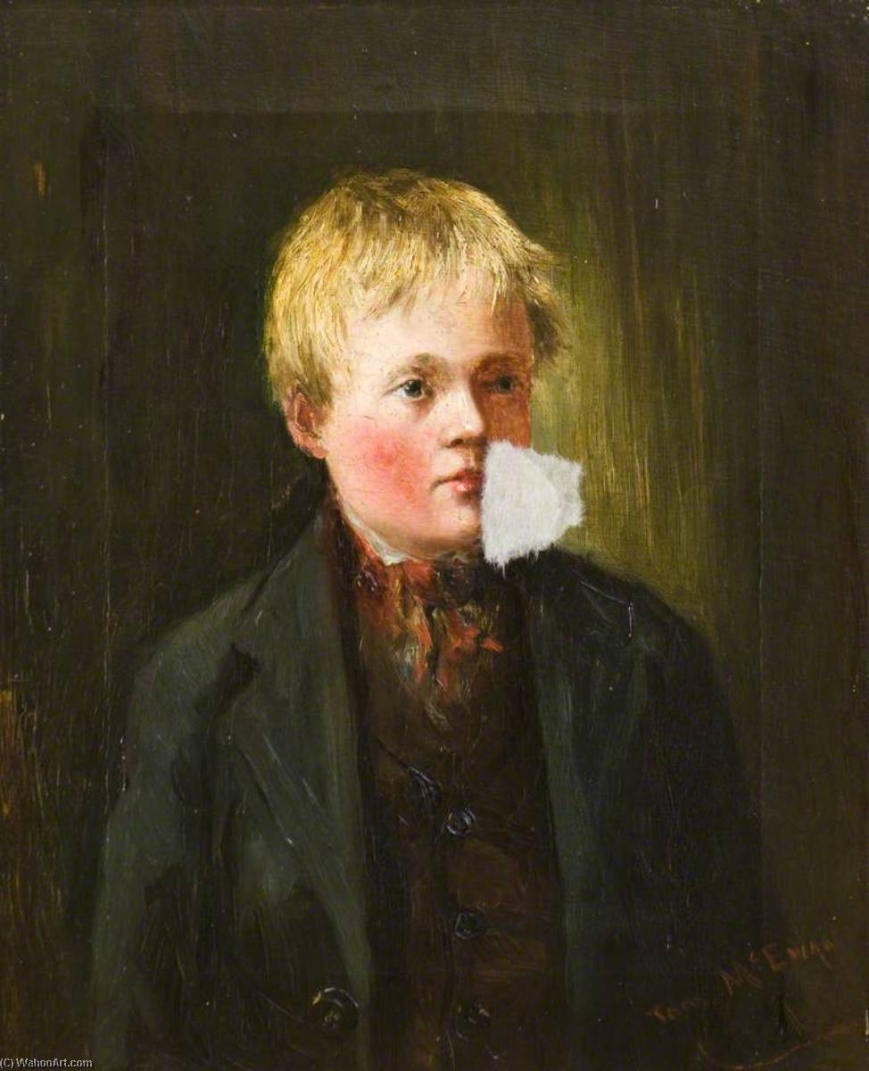 Portrait of a Boy, Oil On Canvas by Thomas Mcewan