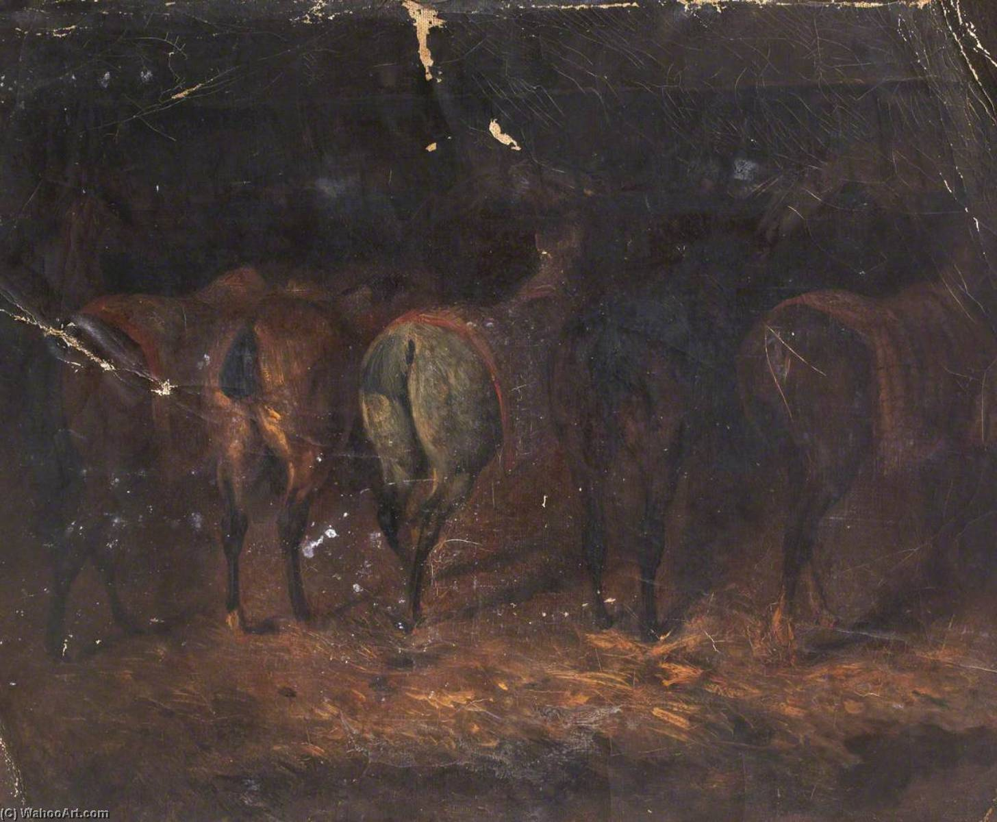 Five Horses, Oil On Canvas by Thomas Stuart Smith